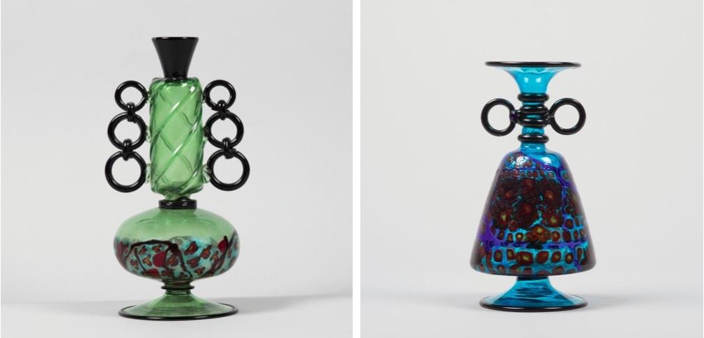 UMBERTO BELLOTTO (1882 Venise 1940) À gauche: Vase en verre vert à décor de Murrine polychrome, Murano vers 1920 À droite: Vase en verre bleu avec décor de Murrine polychrome, Murano vers 1920