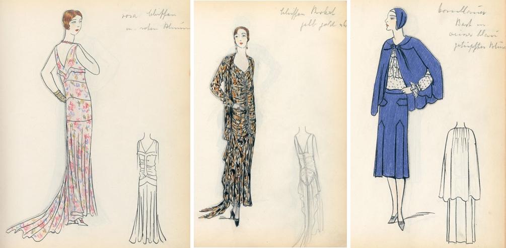 Drei Blätter mit Modezeichnungen, 1930