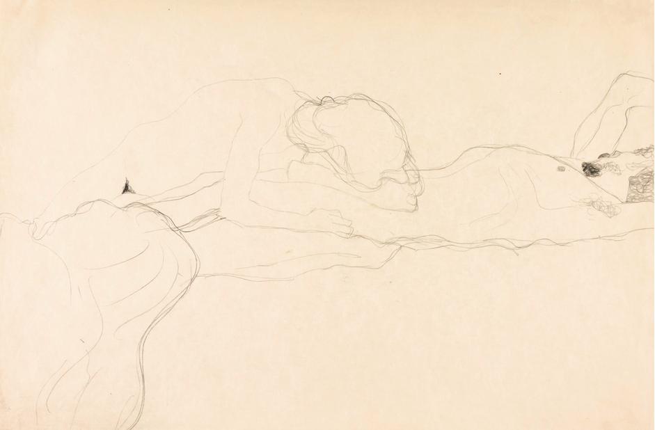 GUSTAV KLIMT - Liebespaar nach rechts liegend, 1904/05|Abb: Sotheby's