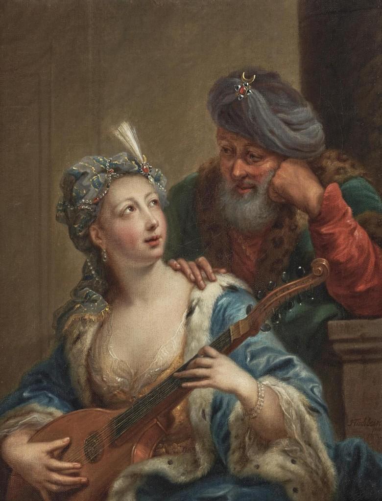 JOHANN HEINRICH TISCHBEIN D. Ä. (1722 Haina - 1789 Kassel) - Sultan und Odaliske, Öl/Lwd., signiert und datiert, 1767