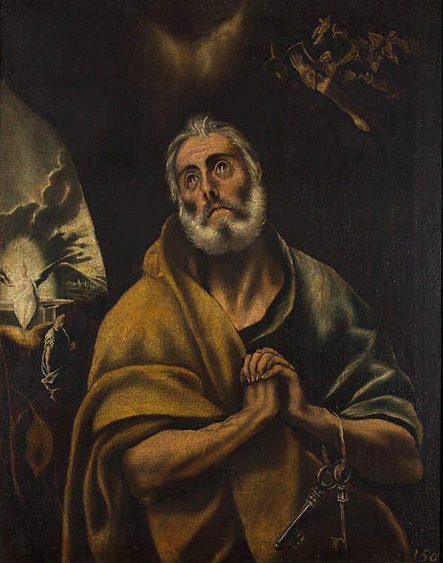 CÍRCULO DE DOMENICOS THEOTOCOPOULOS, EL GRECO. San Pedro en lágrimas