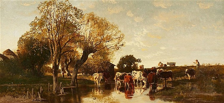 Joseph Wenglein, Landscape with Cattle, Signed and dated lower left: J. Wenglein 1874