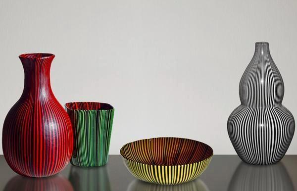 Rigati & Tessuti vaser, skål av Carlo Scarpa för Venini. Bild: panomo.co.uk