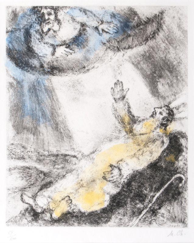 MARC CHAGALL (1887 Witebsk - 1985 Paris) - Mort de Moise (Der Tod Moses), handkolorierte Radierung, nummeriert und monogrammiert, 1958