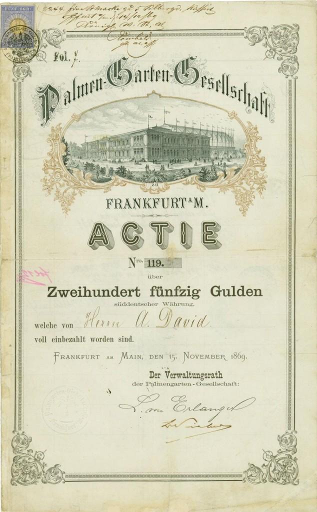 Palmen-Garten-Gesellschaft zu Frankfurt am Main, Frankfurt am Main, 15.11.1869, Gründer-Namensaktie über 250 Gulden süddeutscher Währung, #119