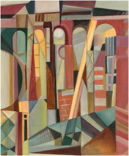 """WALTER DEXEL (1890 München - 1973 Braunschweig) - """"Der große Viadukt"""", olja på canvas, 94 x 77 cm. Namngiven, signerad och daterad, 1920. Utropspris: 1,8 - 2,8 miljoner kronor."""