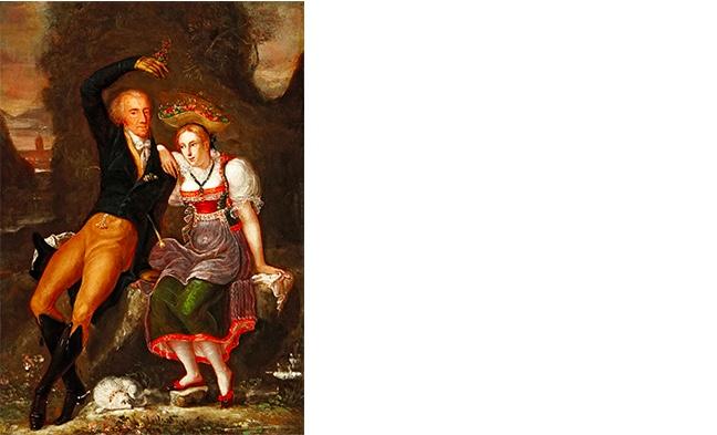JOSEPH REINHART (1749 Horw - 1826 Luzern) Portrait des Luzerner Patriziers Vinzenz Rüttimann und seiner Tochter Nanette in Luzerner Tracht, Öl/Holz, zugeschrieben