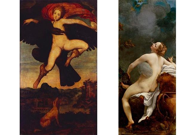 Links: Michelangelo Buonarroti, Die Vergewaltigung des Ganymed, ca. 1532 | Abb. via Royal Collection Trust Rechts: Antonio da Correggio, Jupiter und Io, 1531/32 | Abb. via Wikipedia