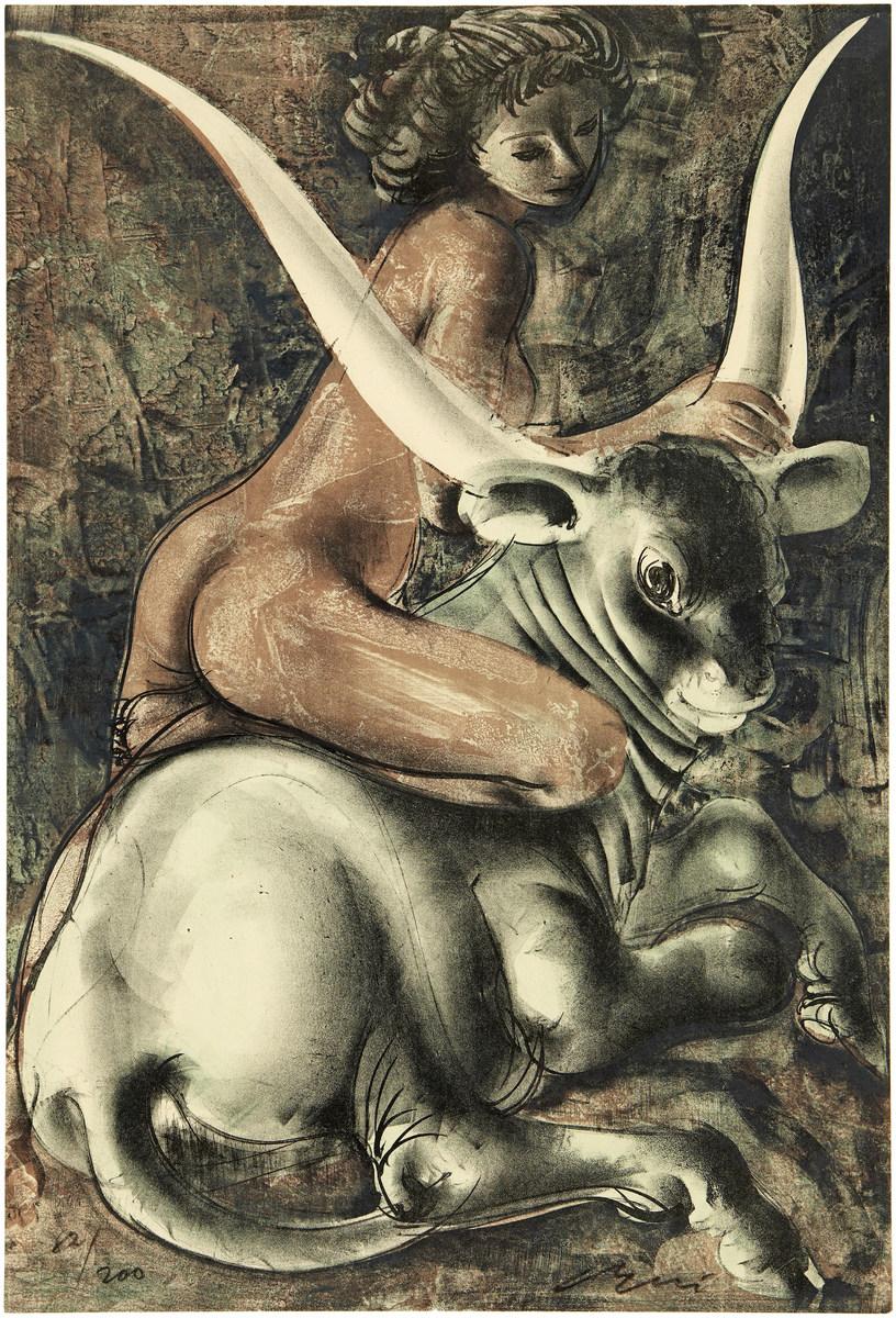 HANS ERNI (1909 Luzern 2015) - Europa und der Stier, Farblithografie/Bütten, 82/200, signiert