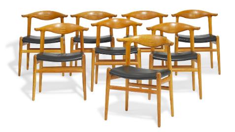HANS J. WEGNER - Cowhorn Chair, 6 Stück, 1952/1968