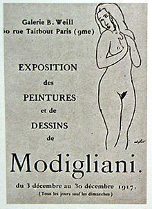 Modigliani hat Jeanne nie nackt gemalt. Nur für die Zeichnung auf der Broschüre zu Modiglianis skandalumwitterten Akt-Ausstellung von 1917 soll sie Modell gestanden haben | Foto via Pinterest