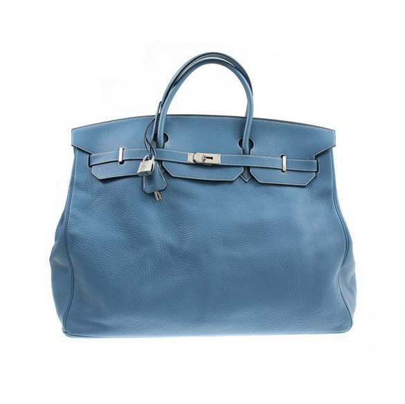 Hermés - Birkin Bag 55, blått läder, 2006. Utrop: 80.000 Sek hos Catawiki