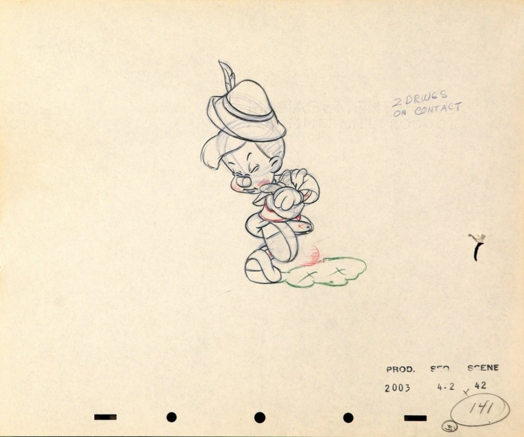 Original drawing for for the Russian dance scene in The adventures of Pinocchio, pencil and ink on production paper