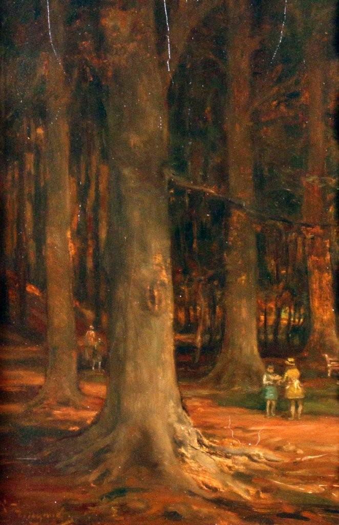"""Figurenstaffage im Wald"", Öl/Holz, 24x30 cm, signiert Startpreis: 500 EUR"