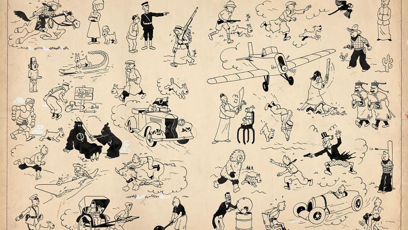 Hergé, Pages de garde bleu foncé, encre de Chine pour les pages de garde des albums de Tintin publiées de 1937 à 1958. Adjugées 2 654 400 euros, record mondial pour une oeuvre de bande dessinée aux enchères Image: Hergé/Moulinsart/2014
