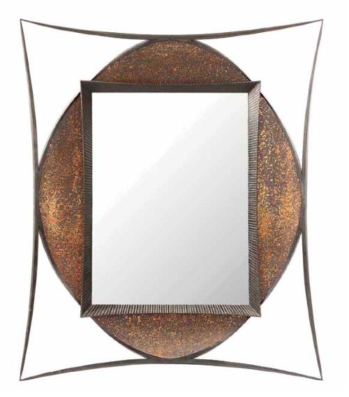 Important miroir, circa 1993, en acier, patine noire, structure de section carrée fuselée formée de quatre arcs de cercle soutenant le fond formant bassin quadrilobé en cuivre André Dubreuil Estimation: 8 000/12 000 €