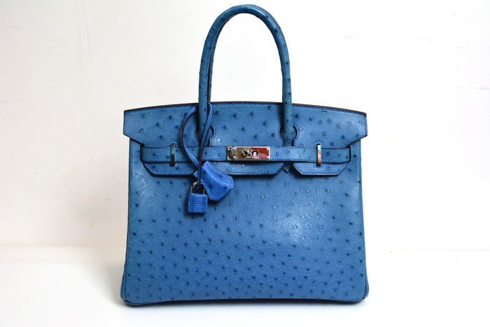 Hermès - Birkin 30, blue ostrich leather