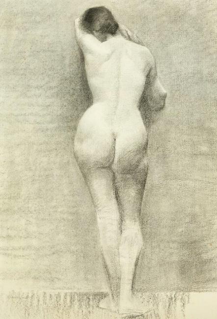 Marie Krøyer, « Modèle féminin de dos », image ©Bruun Rasmussen