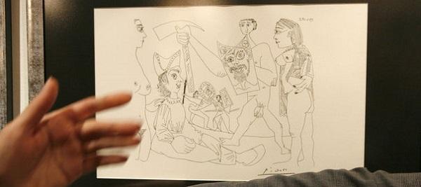 Un de dessins de Pablo Picasso provenant de la collection privée de la belle-fille du peintre  © REUTERS/Ilya Naymushin.