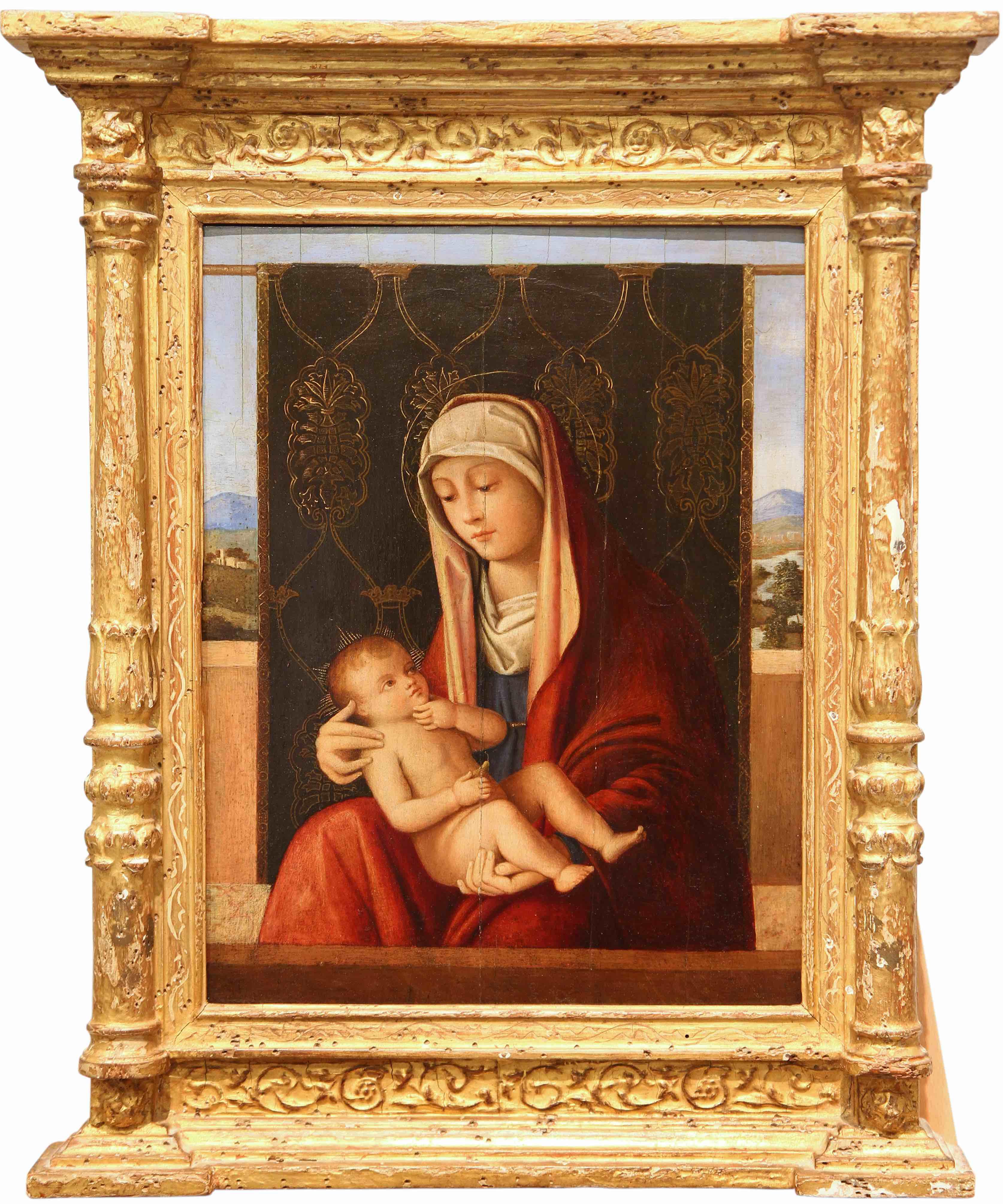 Francesco Bellini (dans le goût), La Vierge à l'Enfant devant un drap brodé et fond de paysage, image ©Rossini