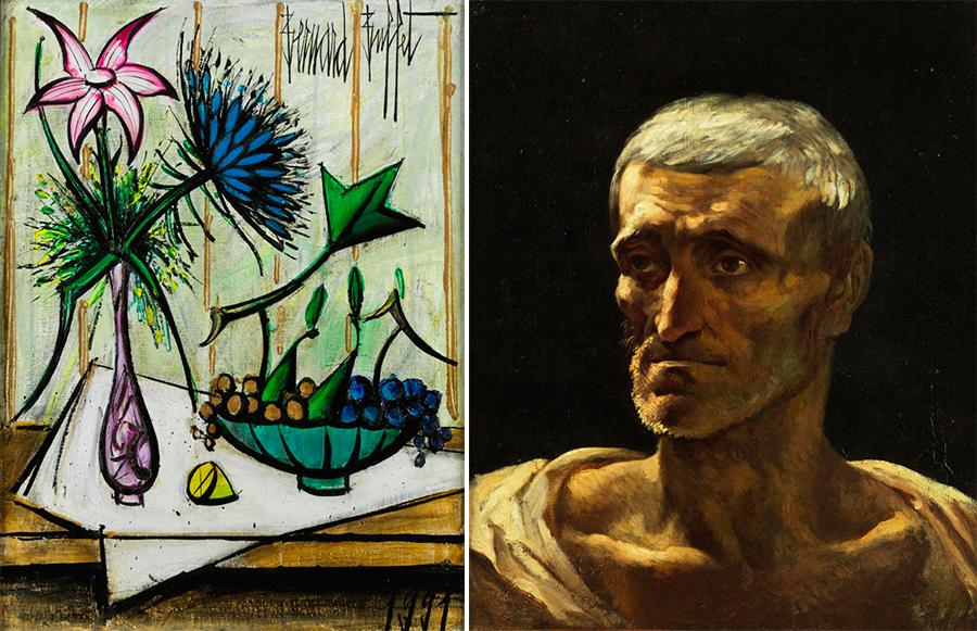 Links: Bernard Buffet (1928 Paris – 1999 Tourtour), Fleurs et fruits I, Öl/Lwd., signiert und datiert, 1991 Rechts: Théodore Géricault (1791 Rouen - 1824 Paris), Portrait de naufragé, Öl/Lwd., signiert   Fotos: Hampel