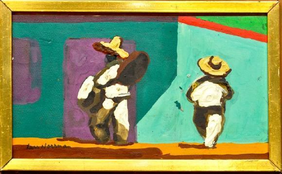 Lars Norrman 1915-1979 figurer Mexiko, oljemålning pannå, signerad, 26x15. Utrop: 400 SEK. Västra Auktionsverket