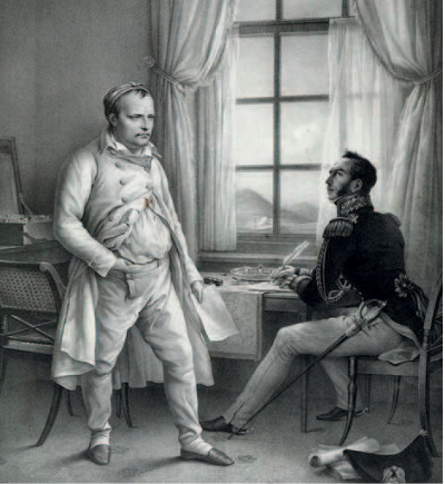Portrait of Napoleon I on St Helena dictating his memoirs to general Gourgaud in a room, Charles de Steuben. 1830.