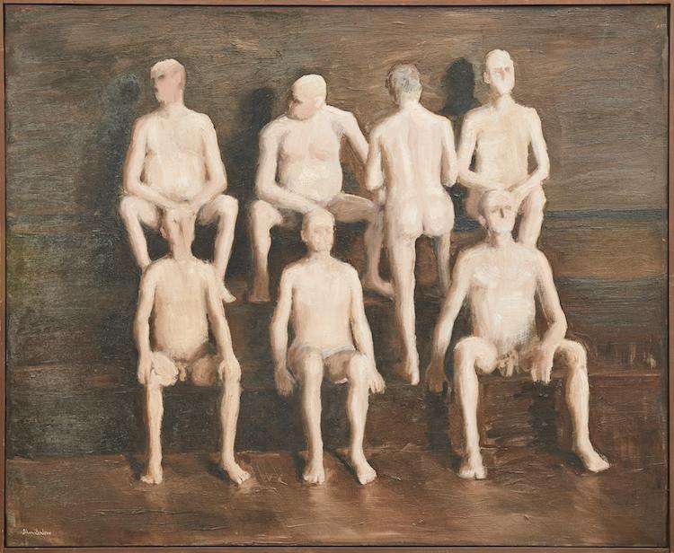 """Målningen """"Bastu"""" från 1965 ropas ut för 12-15 000 kronor. Skulle kunna symbolisera det engelska underhuset efter brexit..."""