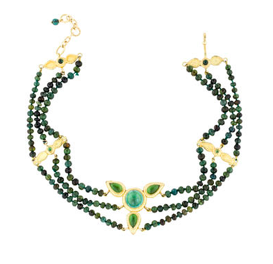 18ct yellow gold multistrand choker necklace featuring tourmaline beads throughout, ornament at center with tourmaline cabochons and and hook clasp closure.