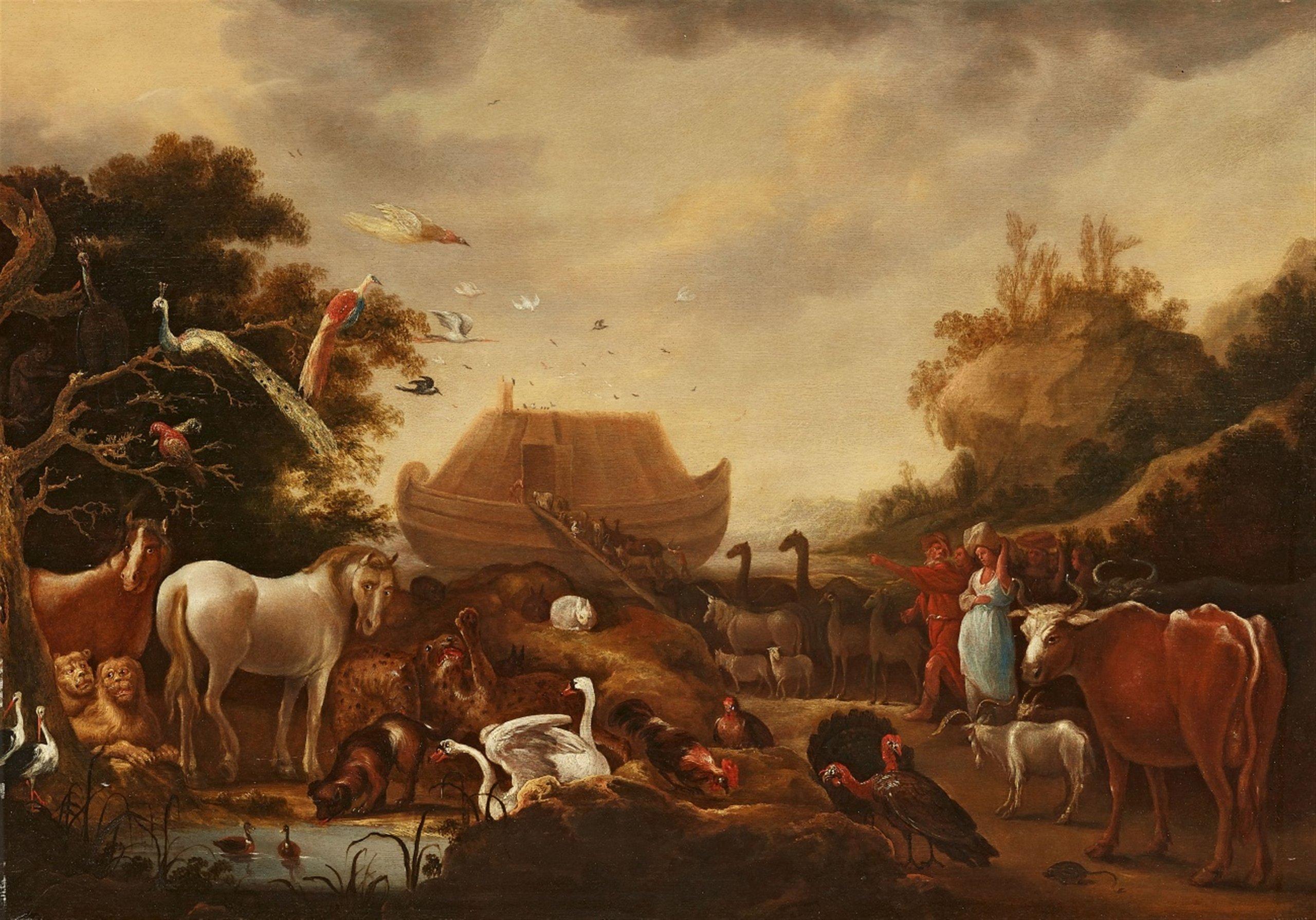 Gillis Claesz. de Hondecoeter (env. 1575 Anvers - 1638 Amsterdam), Paysage avec animaux et l'arche de Noé - Lempertz. Estimation: 3000€ - 4000 €