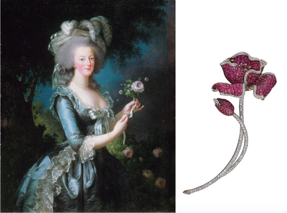 Links: ELISABETH LOUISE VIGÉE-LEBRUN - Marie Antoinette à la rose, 1783 Rechts: Blüten-Brosche aus GG und WG mit Rubinen und Diamanten