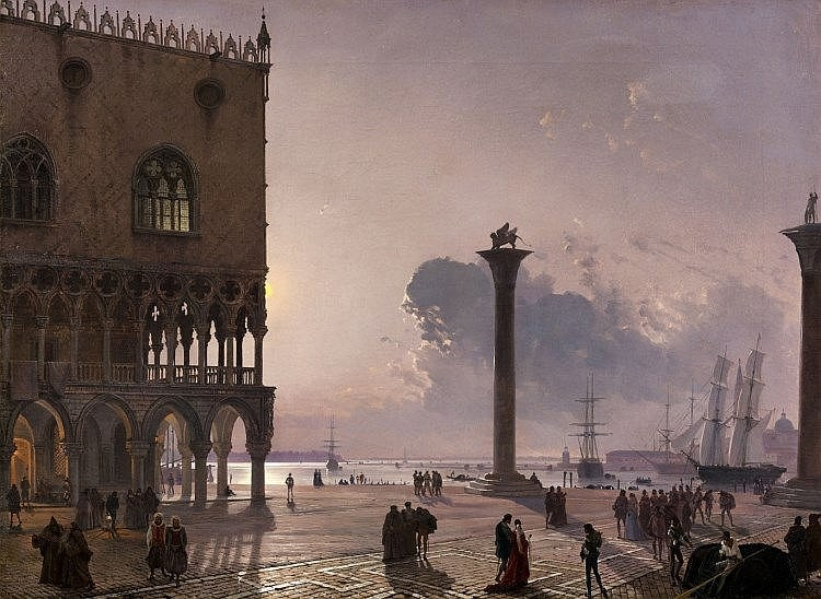FRIEDRICH NERLY (1807 Erfurt 1878 Venice) - Piazzetta di San Marco by Moonlight, oil on canvas, 64.5 x 88 cm, signed and dated 1849 Estimate: EUR 280 000-300 000