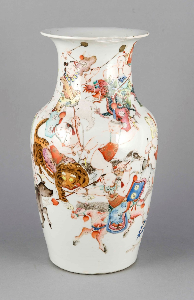 Vase, China, prob. 19th century, with polychrome painting in enamel depicting Chinese warriors on horseback, tigers, roosters etc., upper edge damaged., h. 34 cm. Estimate: $860