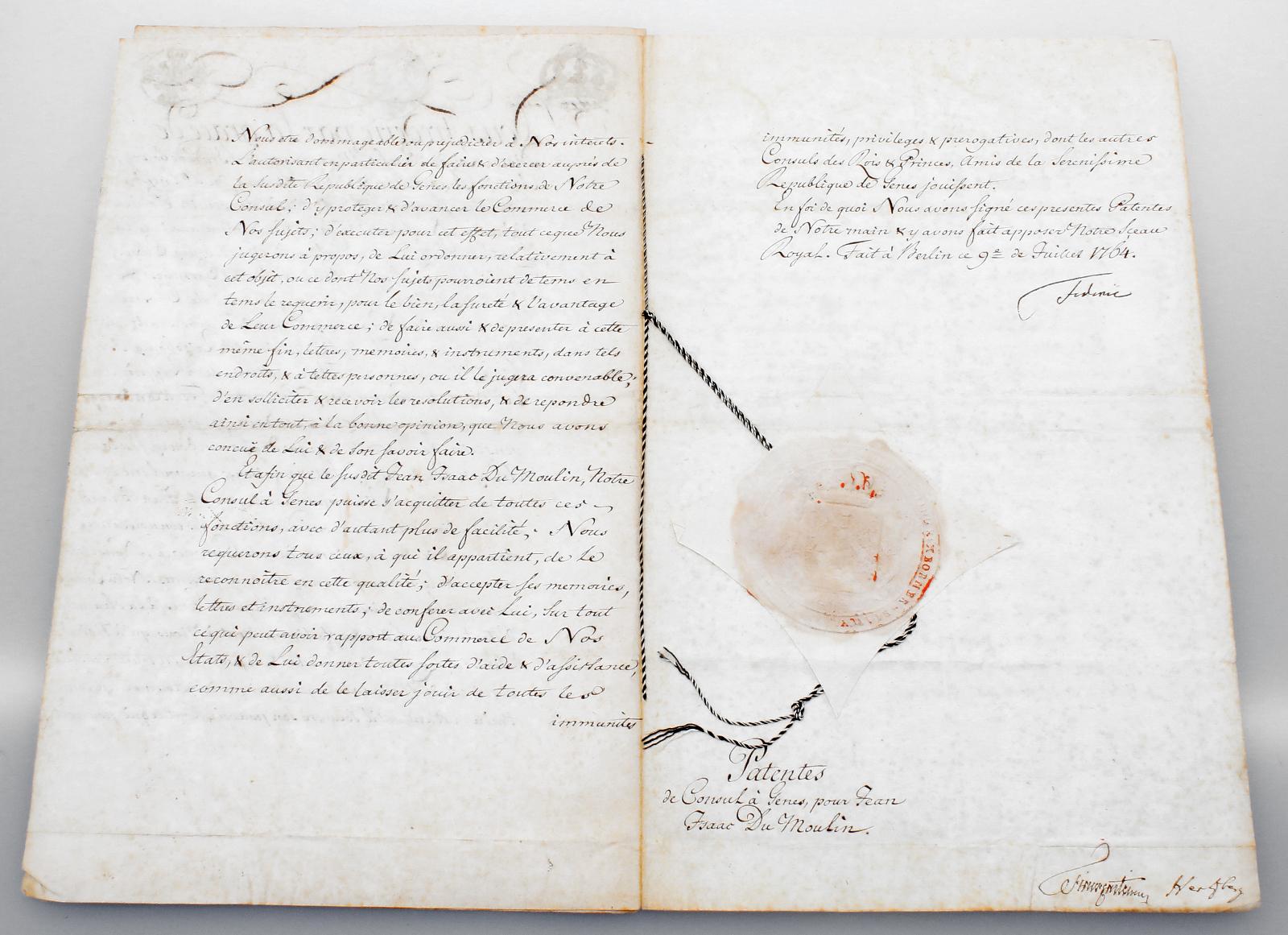 Gesiegelte Urkunde mit Originalautograph Friedrich II. von Preussen 1764