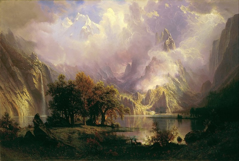 ALBERT BIERSTADT. Paisaje de las montañas rocosas. Óleo sobre lienzo (1870)