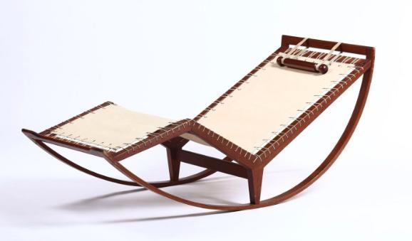 Chaise longue rocking chair PS16 avec structure en bois et assise en tissu de Franco Albini (Prod.Poggi, Italie, 1959)