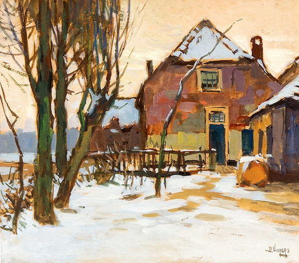 BEN VIEGERS (1886-1947) - Vy över gård på vintern, gouache, 32 x 37 cm, signerad. Startpris: 9500 - 12 300 kronor. Auktionen avslutas den 14 augusti klockan 20.00.