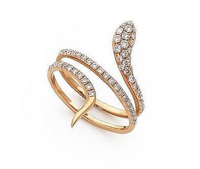 Bague serpent pavée de diamants taille brillant Tajan