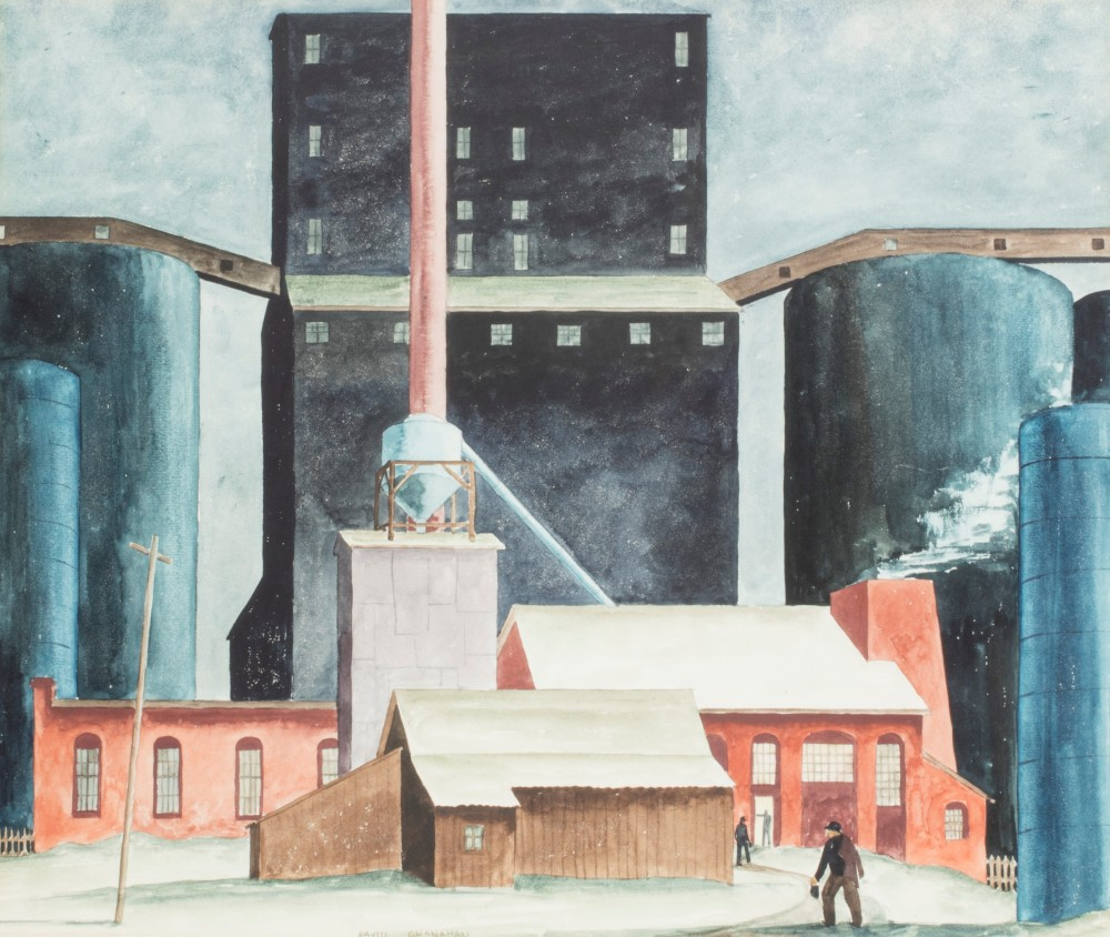 Watercolor painting by David Granahan (American, 1909-1991), titled Night Shifts (1934) ($500-$700).