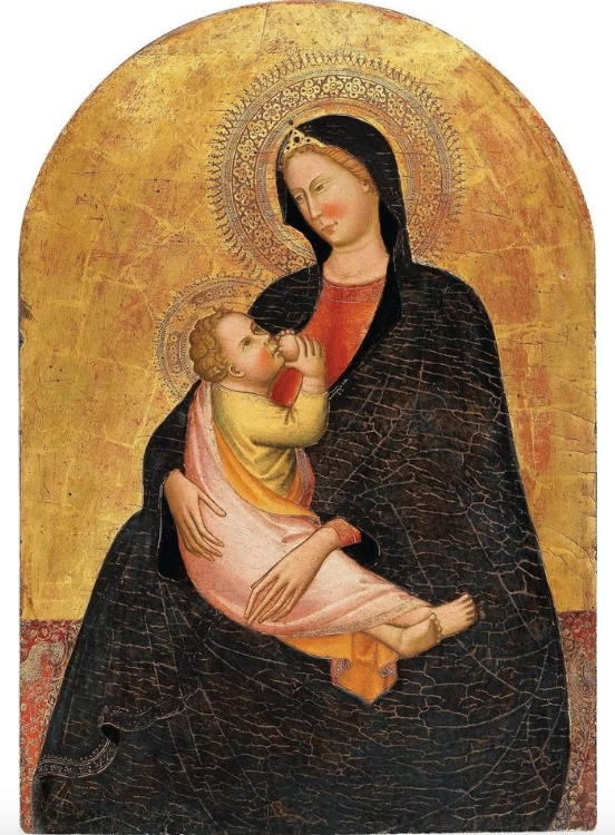 MAESTRO DI SANT'IVO (Florenz, tätig circa 1390–1415) - Madonna mit Kind, Tempera/Holz, Goldgrund