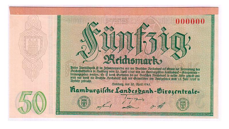 Notausgaben, Frühjahr 1945, Hamburgische Landesbank Girozentrale, 50 Reichsmark