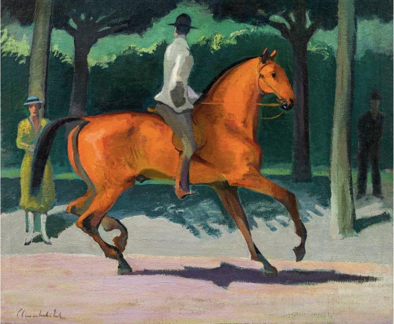 ARNOLD CLEMENTSCHITSCH (1887 Villach 1970) - Der rote Reiter, Öl/Lwd., signiert, um 1914