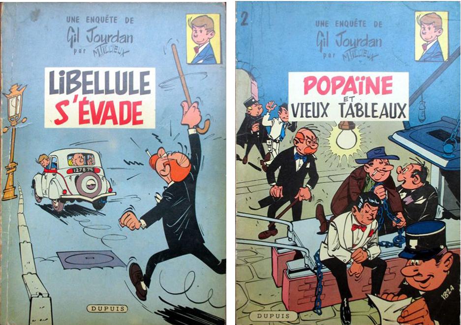 """Gil Jourdan. """"Libellule s'évade"""" y """"Popaïne et vieux tableaux"""" (1959)"""