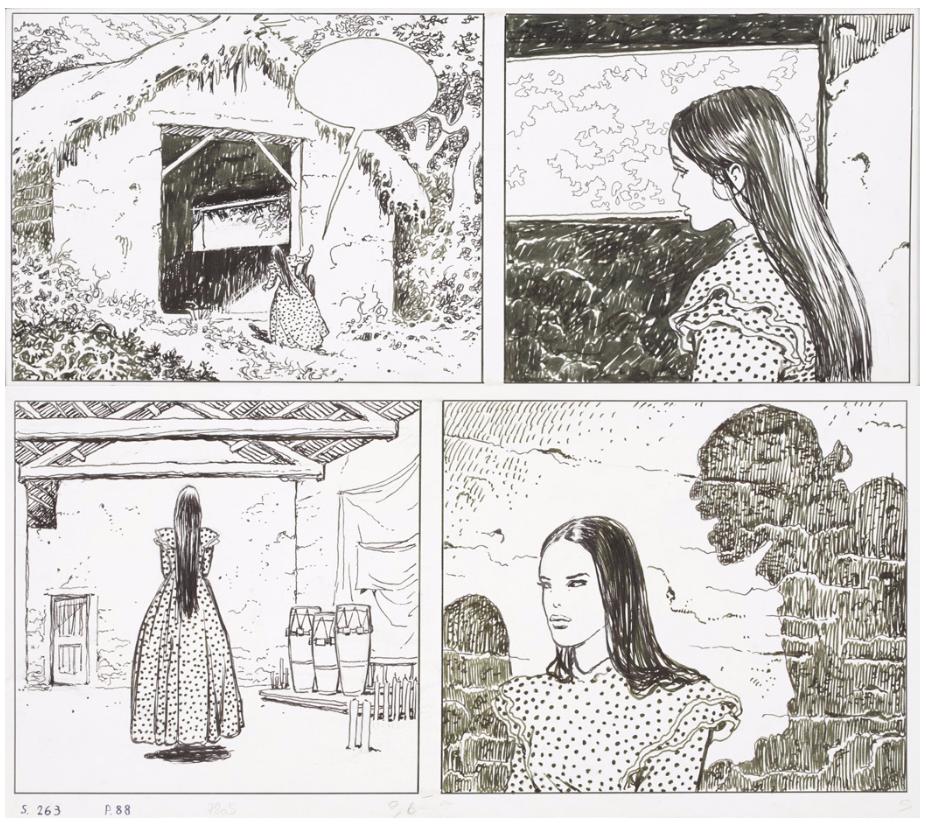 Milo MANARA (né en 1945), El Gaucho Encre de Chine et feutre pour les deux premiers strips de la planche 88 de l'album
