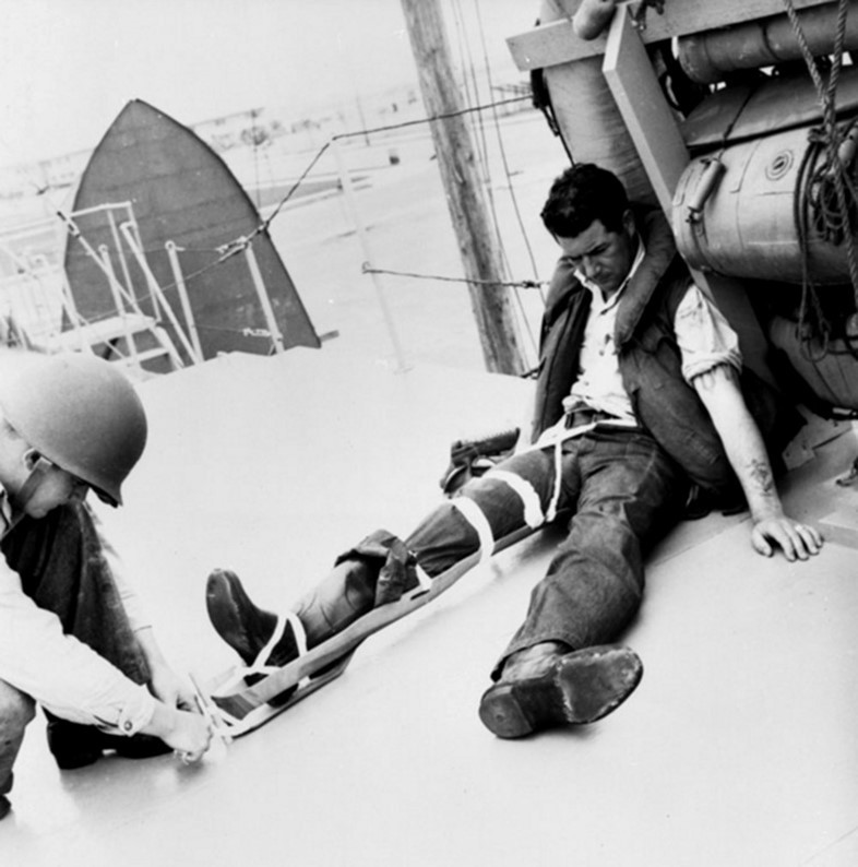 The Eames splinting technique being tried out. Photo: Studio Eames.