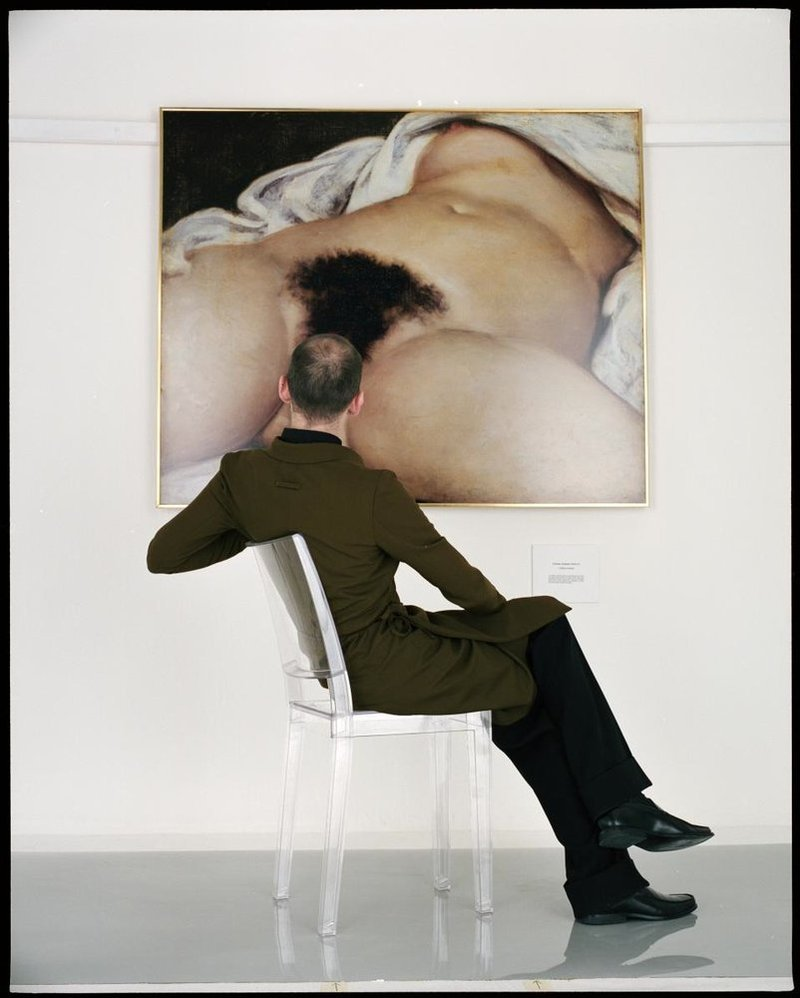 Jean-Baptiste Mondino, Man Looking at the Origin of the World, 1998 Image via The Red List