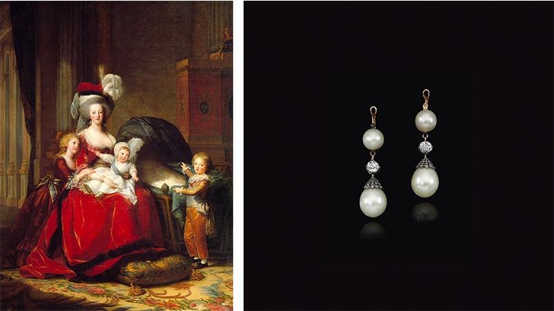 Links: Elisabeth-Louise Vigée-Lebrun, Marie Antoinette mit ihren Kindern, 1787 (Château de Versailles) Rechts: Paar Ohrringe mit Diamanten und Perlen. Erzielter Preis: 447.000 CHF (Foto: ©Sotheby's)