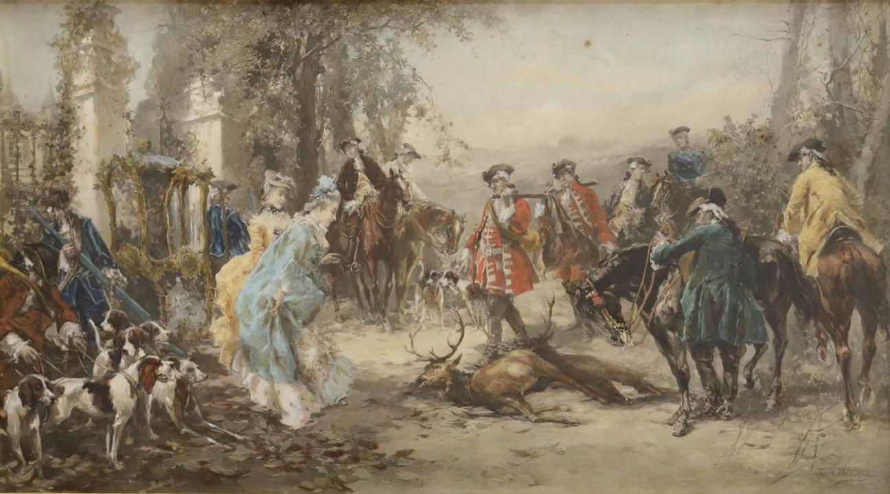Vicente DE PAREDES (1845-1903) Le retour de la chasse Gouache et aquarelle Osenat