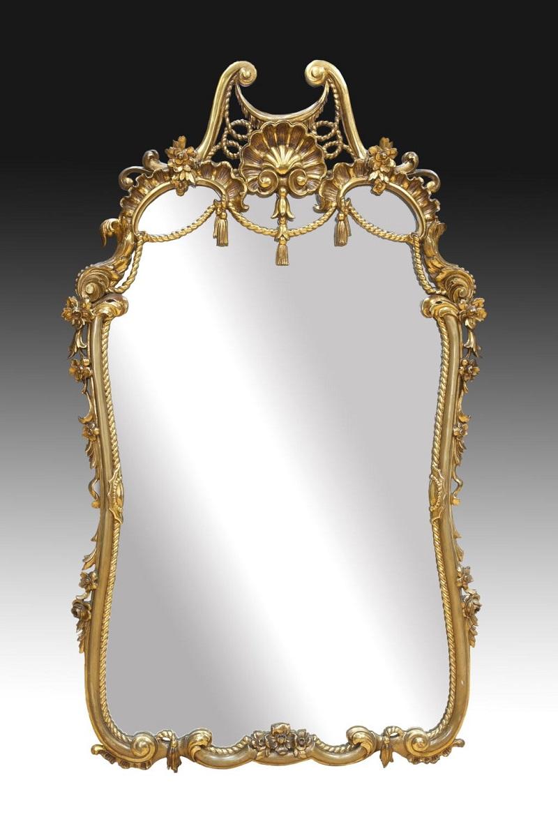 Espejo en madera dorada y tallada (siglo XX)