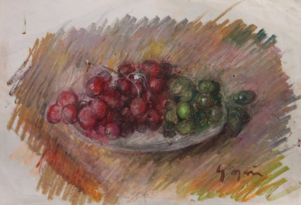 """Pierre Gogois, """"Grappes de raisins"""". Pastel gras sur papier Le Chesnay Enchères"""